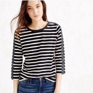J.Crew Striped Classic Tee with faux leather
